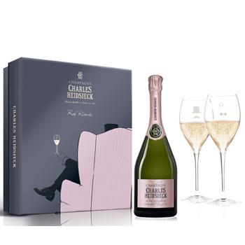 Hộp quà hai ly Champagne Charles Heidsieck Rose Reserve