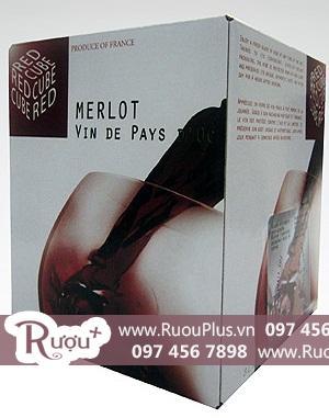 Rượu vang Bịch Red Cube Vin De Pays Merlot 3 lít