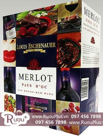 Rượu vang bịch Louis Eschenauer Merlot 3 lít bán lẻ giá buôn