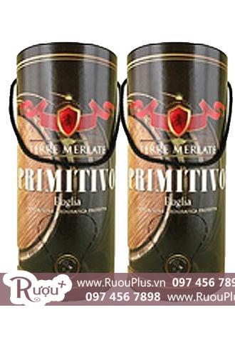 Rượu vang Ý bịch ống Terre Merlate  Primitivo Puglia